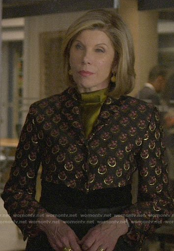 Diane's metallic printed jacket on The Good Fight