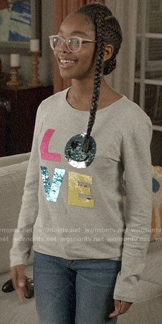 Diane's LOVE sequin sweater on Black-ish