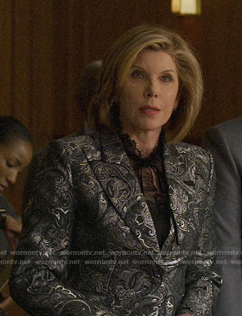 Diane's silver paisley blazer on The Good Fight