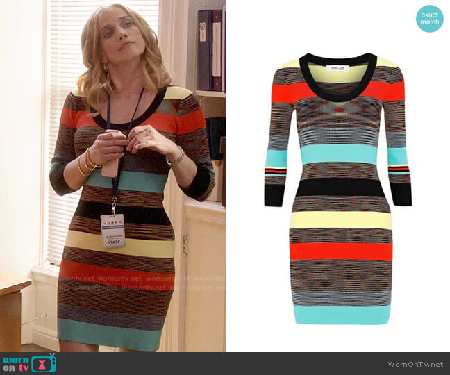 Diane von Furstenberg Striped ribbed-knit mini dress worn by Amy Brookheimer (Anna Chlumsky) on Veep