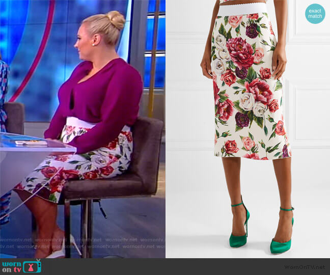 Floral-print cady midi skirt by Dolce & Gabbana worn by Meghan McCain  on The View