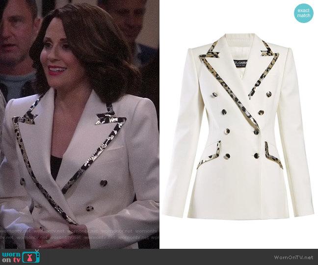 Leopard-print trim double-breasted crepe blazer by Dolce & Gabbana worn by Karen Walker (Megan Mullally) on Will & Grace