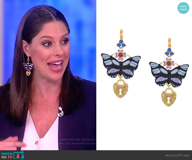 Butterfly Locket Earrings worn by Abby Huntsman  on The View