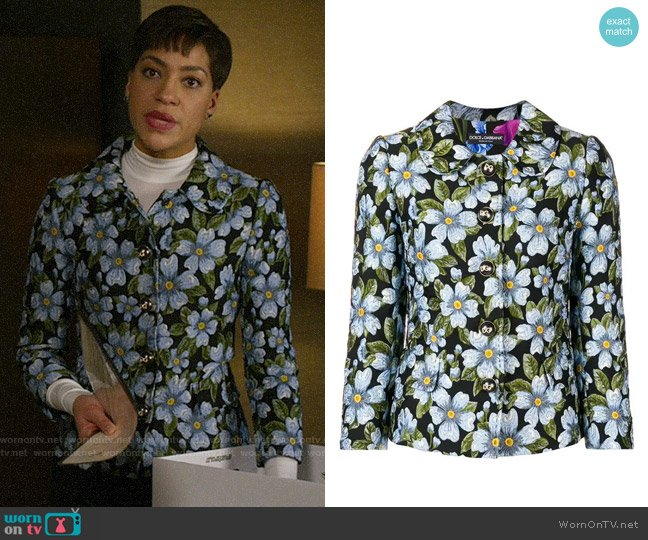 Dolce & Gabbana Floral Jacquard Jacket worn by Lucca Quinn (Cush Jumbo) on The Good Fight