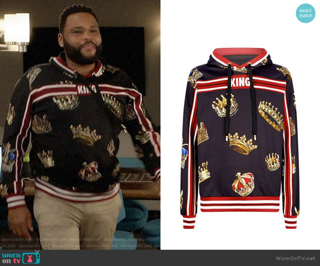 Dolce & Gabbana King Print Hoodie worn by Andre Johnson (Anthony Anderson) on Blackish