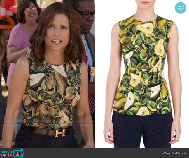 Dolce & Gabbana Pear Print Blouse worn by Selina Meyer (Julia Louis-Dreyfus) on Veep