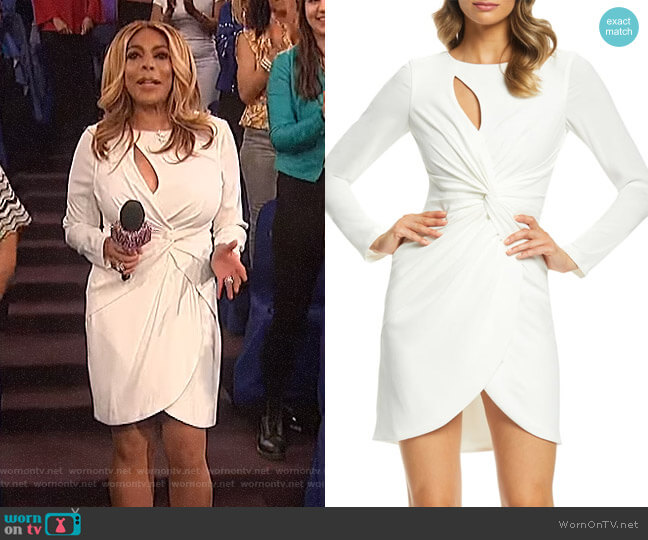 Coby Twisted Faux Wrap Cocktail Dress by Dress the Population worn by Wendy Williams  on The Wendy Williams Show