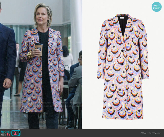 Dries van Noten Peacock metallic-brocade coat worn by Jacqueline (Melora Hardin) on The Bold Type