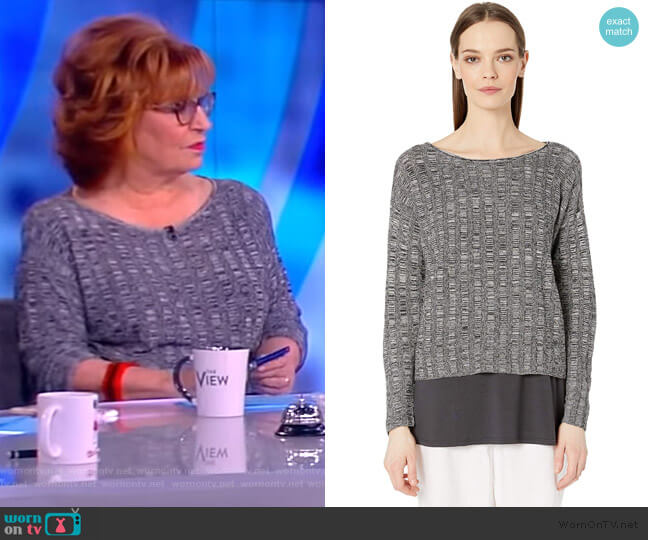 Bateau Neck Long Sleeve Knit Top by Eileen Fisher worn by Joy Behar  on The View
