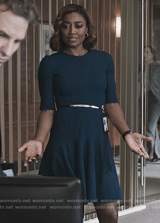 Daisy's navy fit and flare dress on Madam Secretary