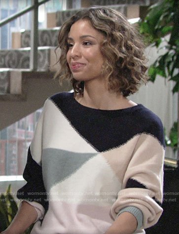 Elena's colorblock sweater on The Young and the Restless