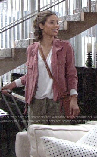 Elena's pink jacket, white v-neck top, and green cargo pants on The Young and the Restless