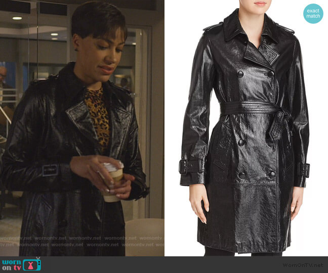 Natania Leather Trench Coat by Elie Tahari worn by Lucca Quinn (Cush Jumbo) on The Good Fight