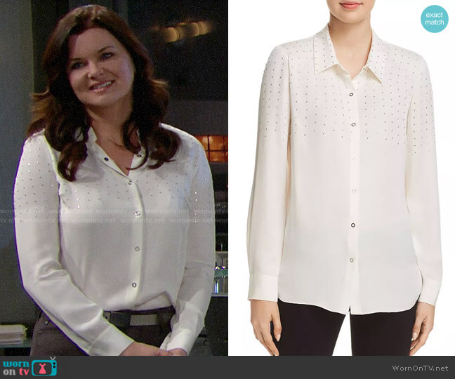 Elie Tahari Macklyn Studded Blouse worn by Katie Logan (Heather Tom) on The Bold & the Beautiful