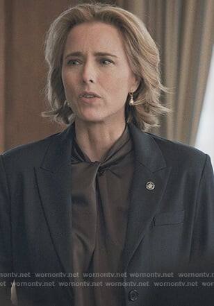 Elizabeth's brown twisted blouse on Madam Secretary