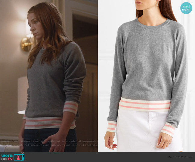 Axel striped cotton-blend sweater by Equipment worn by Sandra Bell (Britt Roberts) on For the People