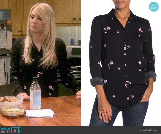 Equipment Essential Shirt in True Black/Amethyst Lilac worn by Penny Hofstadter (Kaley Cuoco) on The Big Bang Theory
