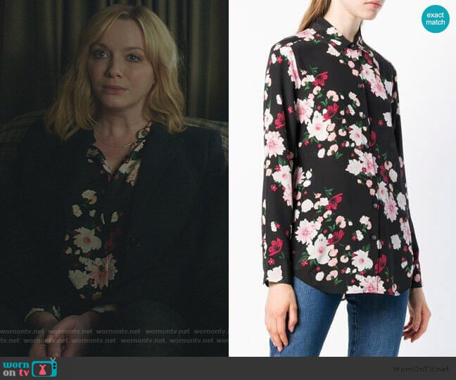 floral print shirt by Equipment worn by Beth Boland (Christina Hendricks) on Good Girls