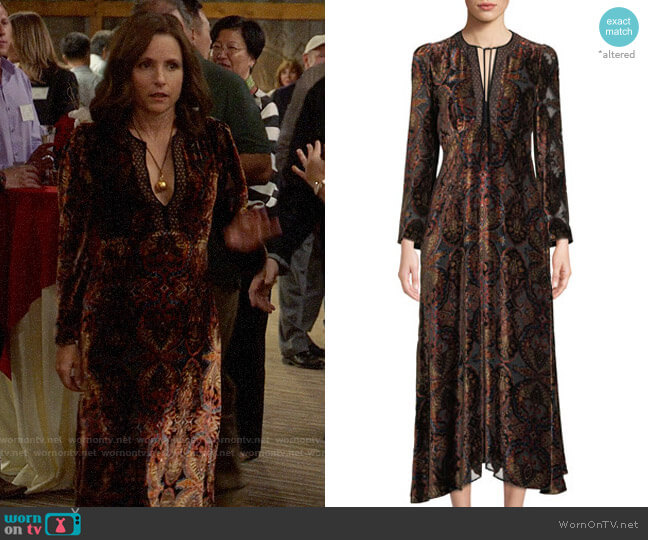 Etro Paisley-Print Velvet A-Line Granny Dress w/ Cravat Trim worn by Selina Meyer (Julia Louis-Dreyfus) on Veep