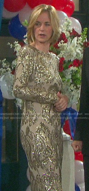 Eve's gold sequin dress on Days of our Lives