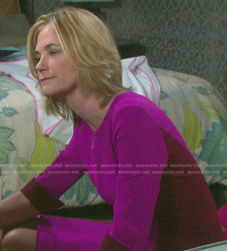 Eve's pink colorblock sheath dress on Days of our Lives