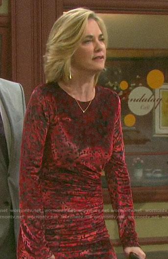 Eve's red velvet leopard dress on Days of our Lives