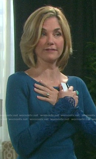 Eve's teal blue dress with lace cuffs on Days of our Lives