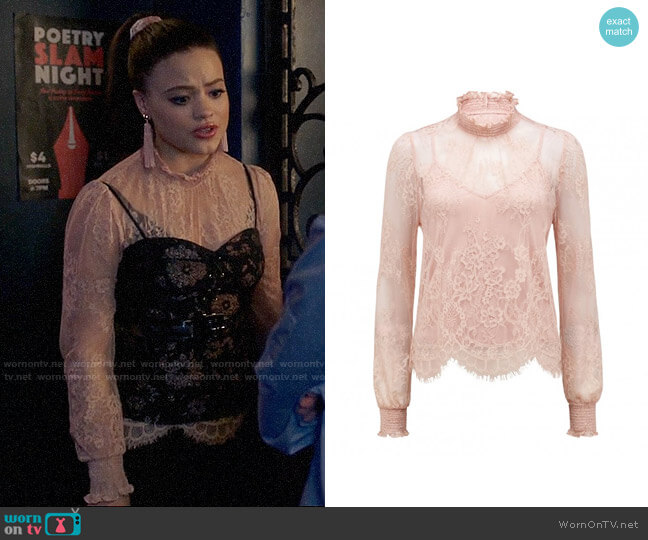 Ever New Azura Lace Shirred Neck Top worn by Maggie Vera (Sarah Jeffery) on Charmed