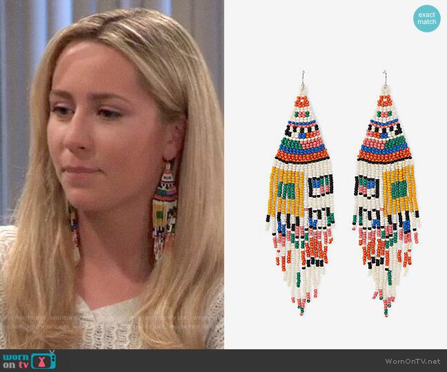 Express Seed Bead Southwest Color Block Fringe Drop Earrings worn by Josslyn Jacks (Eden McCoy) on General Hospital
