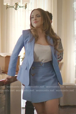 Fallon's blue blazer and wrap mini skirt on Dynasty