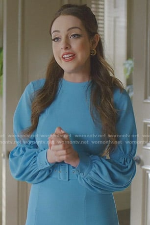 Fallon's blue gathered sleeve dress on Dynasty