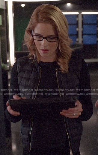 Felicity's black puffer jacket with leather trim on Arrow