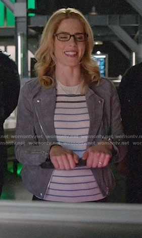 Felicity's striped top and grey suede moto jacket on Arrow