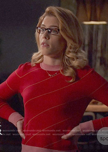 Felicity's red diagonal striped sweater on Arrow