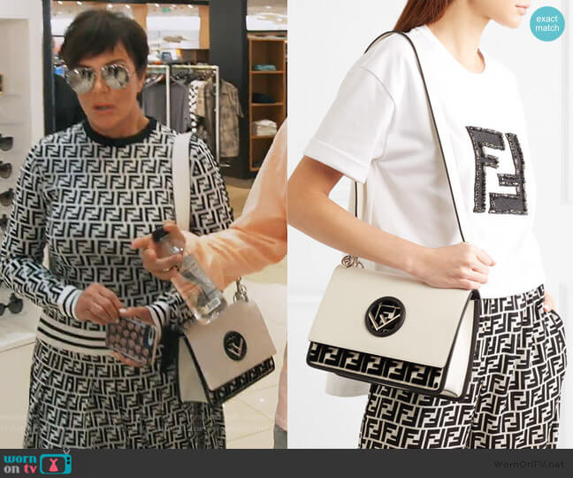 Kan I flocked leather shoulder bag by Fendi worn by Kris Jenner  on Keeping Up with the Kardashians