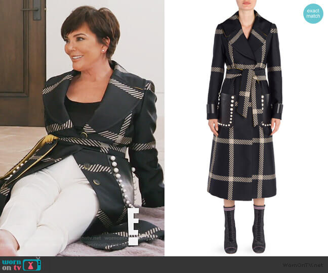 Jacquard Macro Check Coat by Fendi worn by Kris Jenner (Kris Jenner) on Keeping Up with the Kardashians