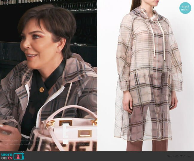 zipped sheer plaid coat by Fendi worn by Kris Jenner  on Keeping Up with the Kardashians