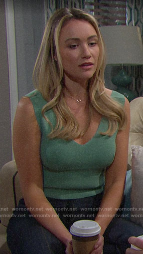 Flo's green v-neck crop top on The Bold and the Beautiful