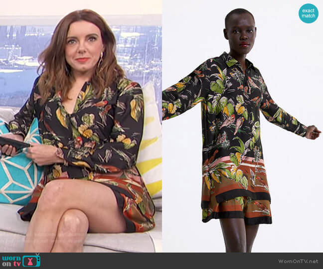 Floral Print Shirt by Zara worn by Melanie Bromley  on E! News