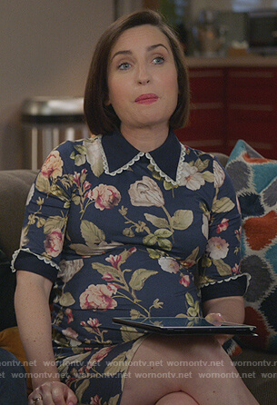 Jen's black floral collared dress on Life in Pieces