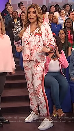 Wendy's floral print blouse and pants on The Wendy Williams Show