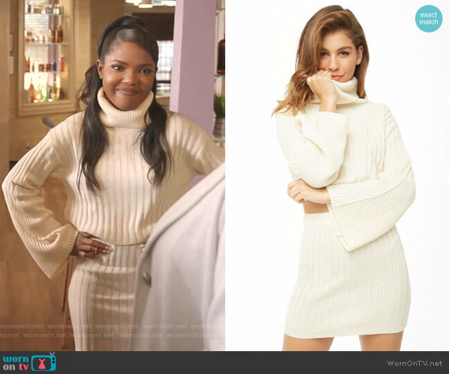 Ribbed Turtleneck Sweater & Mini Skirt Set by Forever 21 worn by Alexandra Crane (Ryan Destiny) on Star