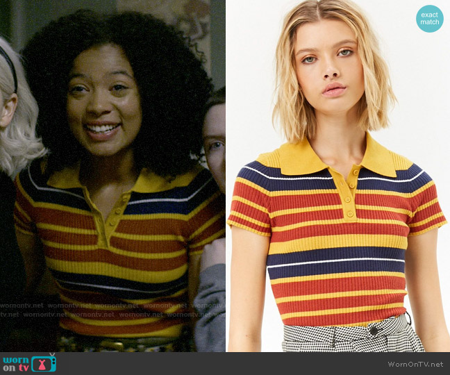 Forever 21 Striped Ribbed Polo worn by Rosalind Walker (Jaz Sinclair) on Chilling Adventures of Sabrina
