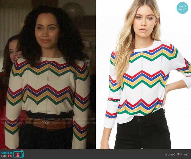 Forever 21 Chevron Crew Neck Sweater worn by Macy Vaughn (Madeleine Mantock) on Charmed