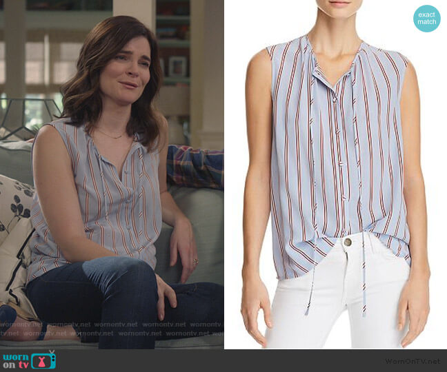 Striped Silk Top by Frame worn by Heather Hughes (Betsy Brandt) on Life in Pieces