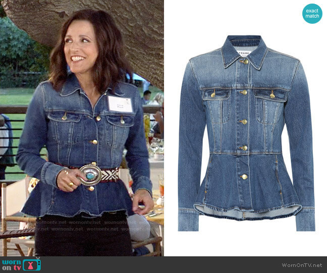 Frame Peplum Denim Jacket worn by Selina Meyer (Julia Louis-Dreyfus) on Veep