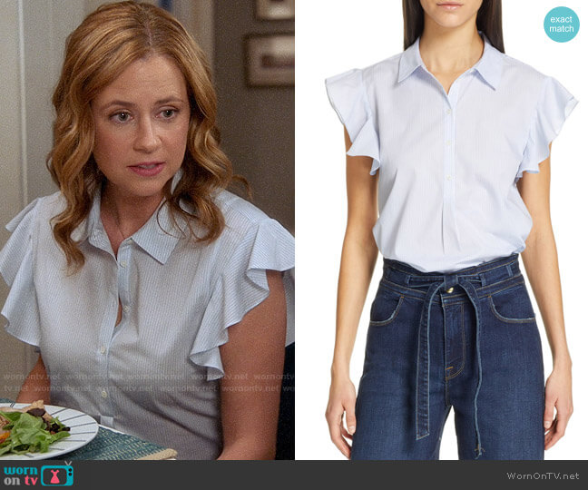 Frame Flounce Sleeve Shirt worn by Lena (Jenna Fischer) on Splitting Up Together