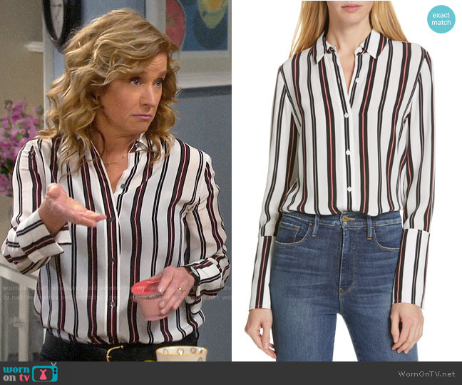 Frame Stripe Pajama Shirt worn by Vanessa Baxter (Nancy Travis) on Last Man Standing