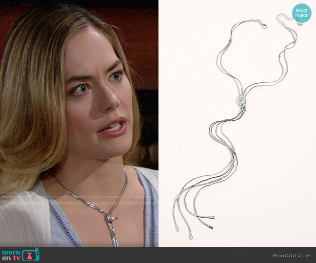 Free People Olivia Bolo Necklace worn by Hope Logan (Annika Noelle) on The Bold & the Beautiful