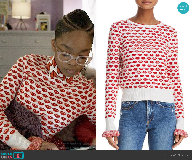 French Connection Kiss Print Sweater worn by Diane Johnson (Marsai Martin) on Blackish